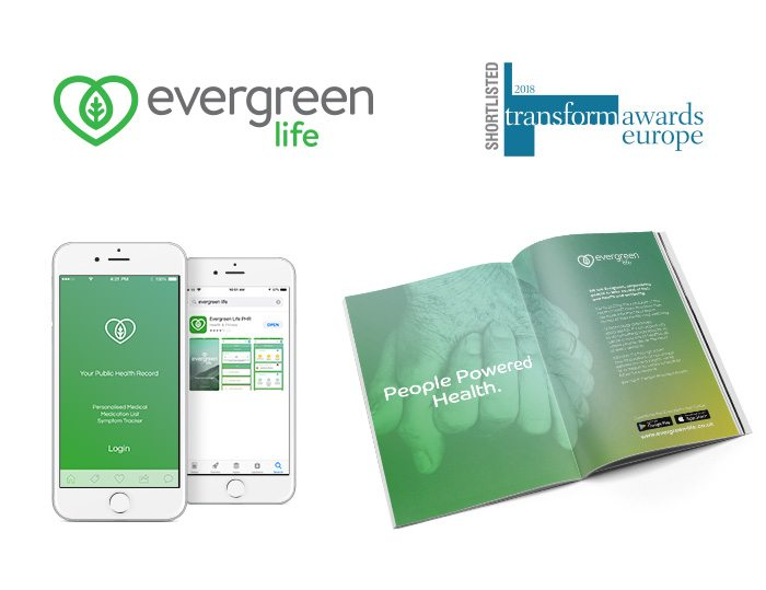 Evergreen Life logo, app and magazine advert