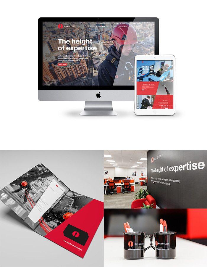 High Access website, brochure mugs and office environment