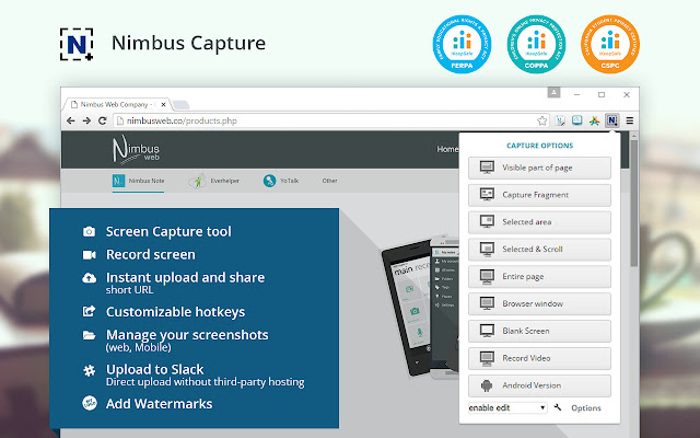 Nimbus screencapture for website screen grabs
